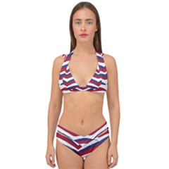 Us United States Red White And Blue American Zebra Strip Double Strap Halter Bikini Set by PodArtist