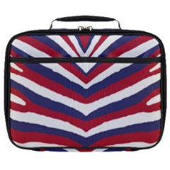 Us United States Red White And Blue American Zebra Strip Full Print Lunch Bag by PodArtist