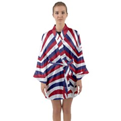 Us United States Red White And Blue American Zebra Strip Long Sleeve Kimono Robe by PodArtist