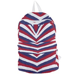Us United States Red White And Blue American Zebra Strip Foldable Lightweight Backpack by PodArtist