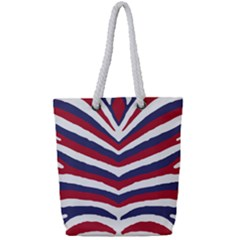 Us United States Red White And Blue American Zebra Strip Full Print Rope Handle Tote (small) by PodArtist