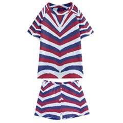 Us United States Red White And Blue American Zebra Strip Kids  Swim Tee And Shorts Set by PodArtist