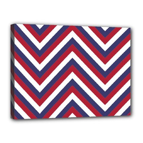 United States Red White And Blue American Jumbo Chevron Stripes Canvas 16  X 12  by PodArtist