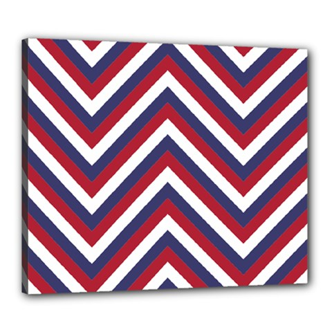 United States Red White And Blue American Jumbo Chevron Stripes Canvas 24  X 20  by PodArtist