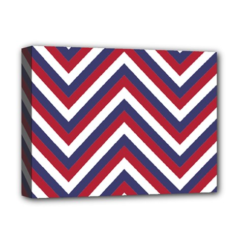 United States Red White And Blue American Jumbo Chevron Stripes Deluxe Canvas 16  X 12   by PodArtist