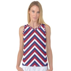 United States Red White And Blue American Jumbo Chevron Stripes Women s Basketball Tank Top