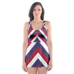 United States Red White And Blue American Jumbo Chevron Stripes Skater Dress Swimsuit by PodArtist