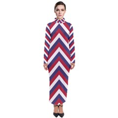 United States Red White And Blue American Jumbo Chevron Stripes Turtleneck Maxi Dress