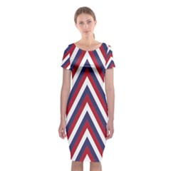 United States Red White And Blue American Jumbo Chevron Stripes Classic Short Sleeve Midi Dress