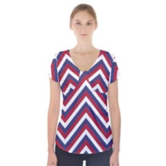United States Red White And Blue American Jumbo Chevron Stripes Short Sleeve Front Detail Top by PodArtist