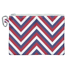 United States Red White And Blue American Jumbo Chevron Stripes Canvas Cosmetic Bag (xl) by PodArtist