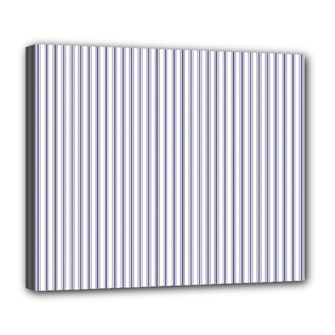 Mattress Ticking Narrow Striped Pattern In Usa Flag Blue And White Deluxe Canvas 24  X 20   by PodArtist
