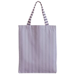 Mattress Ticking Narrow Striped Pattern In Usa Flag Blue And White Zipper Classic Tote Bag by PodArtist