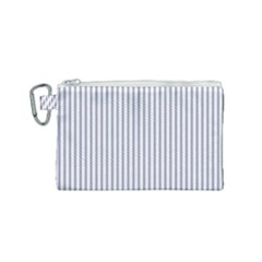 Mattress Ticking Narrow Striped Pattern In Usa Flag Blue And White Canvas Cosmetic Bag (small) by PodArtist