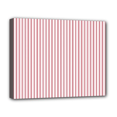 Mattress Ticking Narrow Striped Usa Flag Red And White Deluxe Canvas 20  X 16   by PodArtist