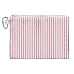 Mattress Ticking Narrow Striped Usa Flag Red And White Canvas Cosmetic Bag (xl) by PodArtist
