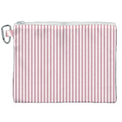 Mattress Ticking Narrow Striped Usa Flag Red And White Canvas Cosmetic Bag (xxl) by PodArtist