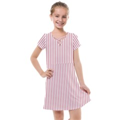 Mattress Ticking Narrow Striped Usa Flag Red And White Kids  Cross Web Dress