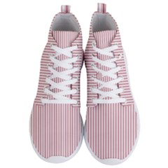 Mattress Ticking Narrow Striped Usa Flag Red And White Men s Lightweight High Top Sneakers