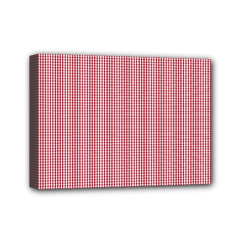 Usa Flag Red Blood Mini Gingham Check Mini Canvas 7  X 5  by PodArtist