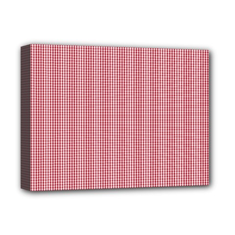 Usa Flag Red Blood Mini Gingham Check Deluxe Canvas 16  X 12   by PodArtist