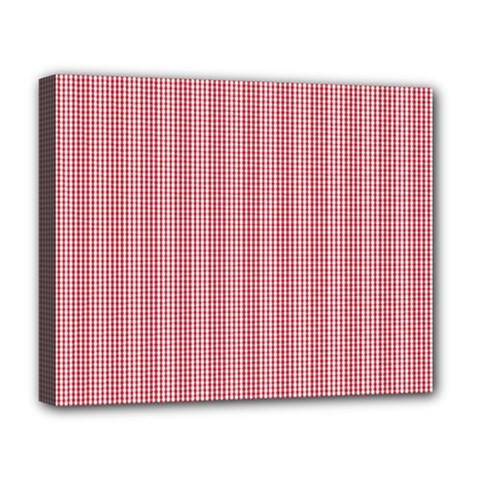 Usa Flag Red Blood Mini Gingham Check Deluxe Canvas 20  X 16   by PodArtist