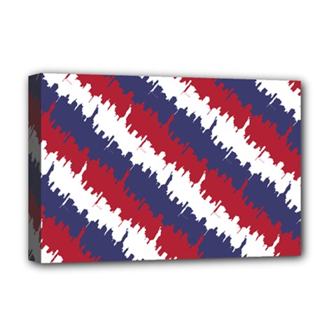 Ny Usa Candy Cane Skyline In Red White & Blue Deluxe Canvas 18  X 12   by PodArtist