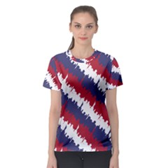 Ny Usa Candy Cane Skyline In Red White & Blue Women s Sport Mesh Tee by PodArtist