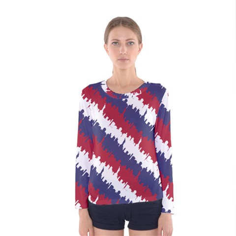 Ny Usa Candy Cane Skyline In Red White & Blue Women s Long Sleeve Tee by PodArtist