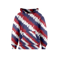 Ny Usa Candy Cane Skyline In Red White & Blue Kids  Pullover Hoodie by PodArtist