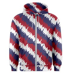 Ny Usa Candy Cane Skyline In Red White & Blue Men s Zipper Hoodie by PodArtist