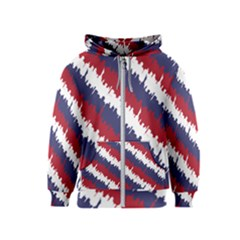 Ny Usa Candy Cane Skyline In Red White & Blue Kids  Zipper Hoodie by PodArtist