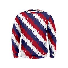 Ny Usa Candy Cane Skyline In Red White & Blue Kids  Sweatshirt by PodArtist