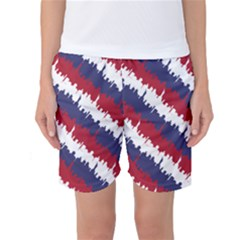 Ny Usa Candy Cane Skyline In Red White & Blue Women s Basketball Shorts by PodArtist