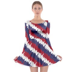 Ny Usa Candy Cane Skyline In Red White & Blue Long Sleeve Skater Dress by PodArtist