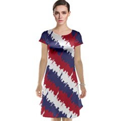 Ny Usa Candy Cane Skyline In Red White & Blue Cap Sleeve Nightdress by PodArtist