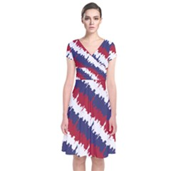Ny Usa Candy Cane Skyline In Red White & Blue Short Sleeve Front Wrap Dress by PodArtist