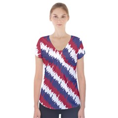 Ny Usa Candy Cane Skyline In Red White & Blue Short Sleeve Front Detail Top by PodArtist