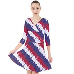 Ny Usa Candy Cane Skyline In Red White & Blue Quarter Sleeve Front Wrap Dress by PodArtist