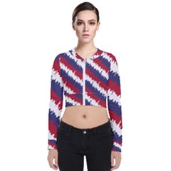 Ny Usa Candy Cane Skyline In Red White & Blue Bomber Jacket by PodArtist