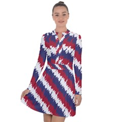 Ny Usa Candy Cane Skyline In Red White & Blue Long Sleeve Panel Dress by PodArtist