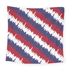 Ny Usa Candy Cane Skyline In Red White & Blue Square Tapestry (large) by PodArtist