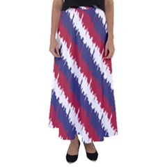 Ny Usa Candy Cane Skyline In Red White & Blue Flared Maxi Skirt by PodArtist
