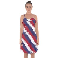 Ny Usa Candy Cane Skyline In Red White & Blue Ruffle Detail Chiffon Dress by PodArtist