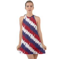Ny Usa Candy Cane Skyline In Red White & Blue Halter Tie Back Chiffon Dress by PodArtist