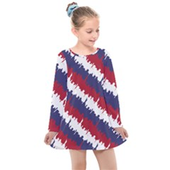 Ny Usa Candy Cane Skyline In Red White & Blue Kids  Long Sleeve Dress