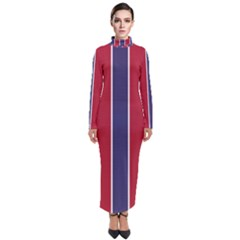Large Red White And Blue Usa Memorial Day Holiday Vertical Cabana Stripes Turtleneck Maxi Dress