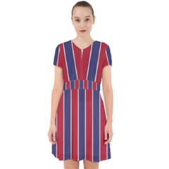 Large Red White And Blue Usa Memorial Day Holiday Vertical Cabana Stripes Adorable In Chiffon Dress