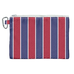Large Red White And Blue Usa Memorial Day Holiday Vertical Cabana Stripes Canvas Cosmetic Bag (xl) by PodArtist