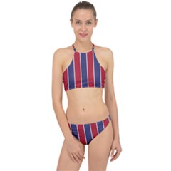 Large Red White And Blue Usa Memorial Day Holiday Vertical Cabana Stripes Racer Front Bikini Set